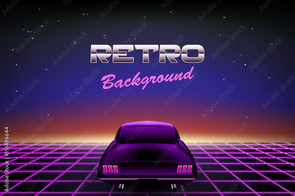 Fotografie, Obraz Retro background 80s, muscle car on