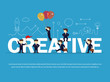Cartoon working little people with big word Creative. Vector illustration for business design and infographic.