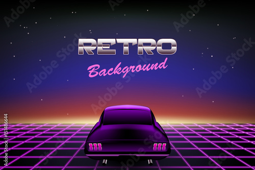 Retro Background 80s Muscle Car On Abstract Backdrop