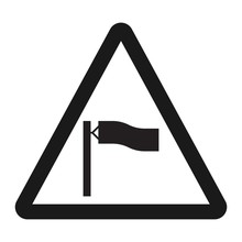 Warning Wind Sign Line Icon