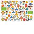 Children sport Fitness Football Volleyball Tennis Basketball Bicycle Running Award Baseball Kids sport for boys and girls Vector pattern