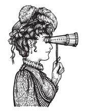 Vintage Woman With Binocular