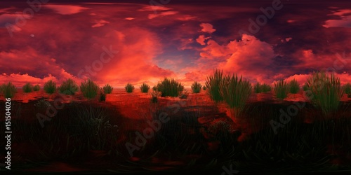 Fotobehang Bordeaux rendering of a lake with water plants and red clouds