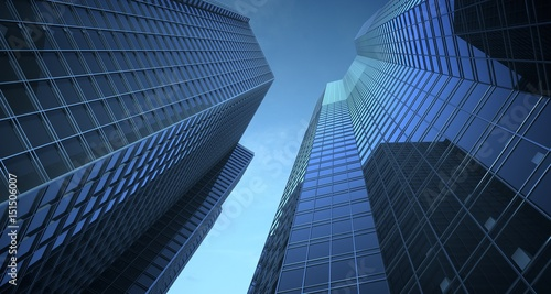 Fotografie, Tablou  Skyscrappers in the sky. 3d Illustration