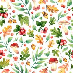 Fototapeta Watercolor forest seamless pattern