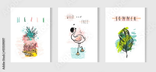 Fotografia  Hand drawn vector abstract summer time cards set with pink flamingo,tropical palm leaves,pineapple and funny quotes isolated on white background