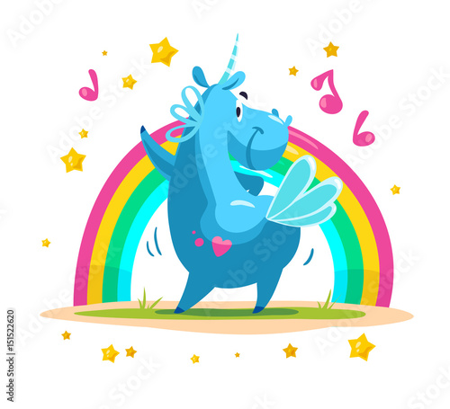 Poster Pony Vector flat unicorn illustration.