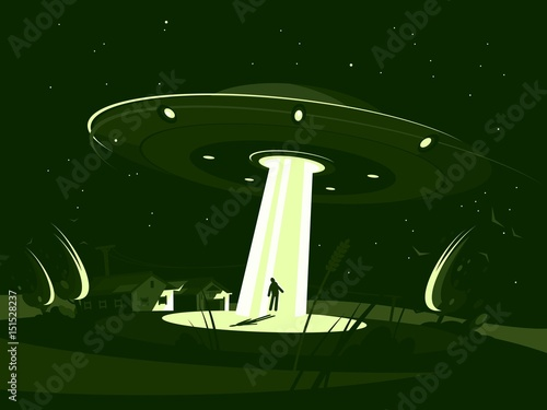 Spaceship abducts man Wallpaper Mural