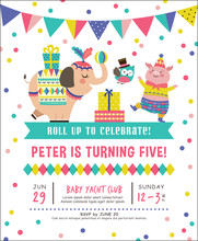 Kids Birthday Party Invitation Card With Circus Theme