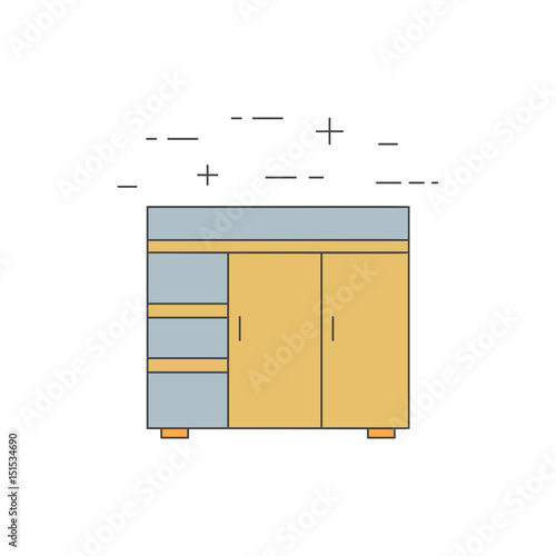 Fotografia, Obraz  Steel work table isolated line icon.