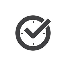 Check Mark On Clock, Real Time...