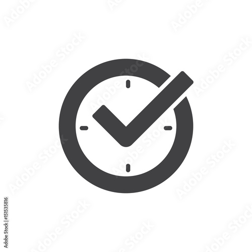 Obraz na plátně Check mark on clock, real time protection icon vector, filled flat sign, glyph style pictogram isolated on white