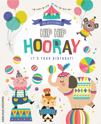 Birthday Card With Circus Cartoon Animals