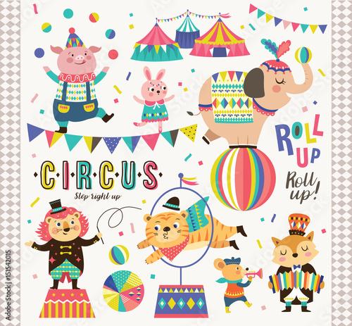 Poster de jardin Route Set of circus animals