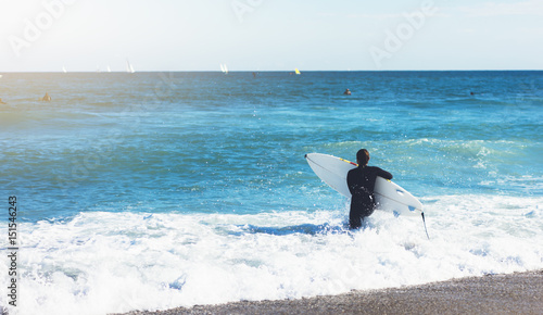 Surfer Holding Surfboard On Background Sea Scape Sand Beach Coastline Panorama Horizon Perspective