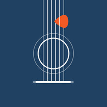 Creative Designed Of Flat Acoustic Guitar , Vector Illustrator Eps10
