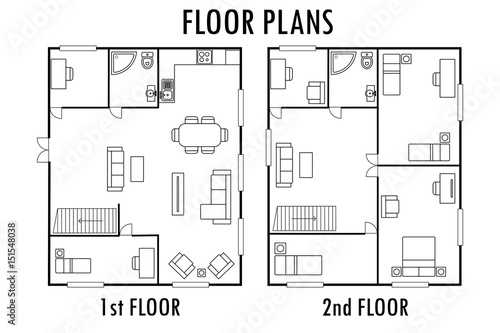 Architecture plan with furniture. House First and second ... on 2nd floor deck plans, 2nd floor signs, 2nd floor insulation, 2nd floor remodeling, 2nd floor design, 2nd floor dallas menu, 2nd floor foundation, 4 floor house plans, 1st floor house plans, 2nd floor concrete, add on house floor plans, 2nd floor building plans, 2nd floor home ideas, open floor house plans, 2nd floor kitchen, second floor plans, 1 floor house plans, 2nd floor addition plans, 2 floor house plans, 2nd floor house ideas,