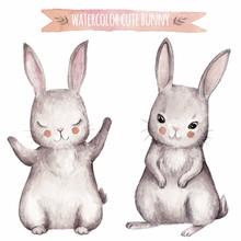 Cute Bunny Watercolor Set.