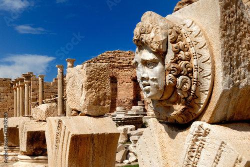 Libya, Tripoli, Leptis Magna, Murqub District, Khoms, Severan Forum, Close-up of Medusa, Roman archaeological site Unesco World Heritage Site