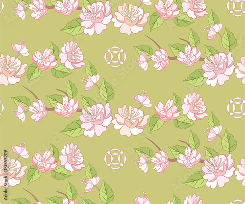 Cotton fabric Fruit tree blossom seamless pattern with flowers.