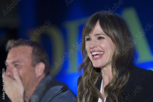 Cast members Kevin Costner and Jennifer Garner speak at a