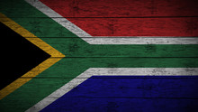 Flag Of South Africa Painted On Old Wood Boards