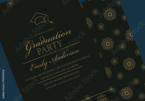 Black And Gold Graduation Invitation Layout Buy This Stock Template
