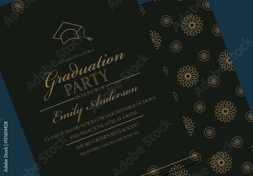 Black and gold graduation invitation layout buy this stock template black and gold graduation invitation layout filmwisefo