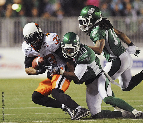 BC Lions running back Harris is brought down by Saskatchewan