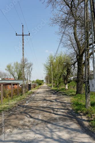 Fotografie, Obraz  polna droga wzdłuż trasy kolejowej