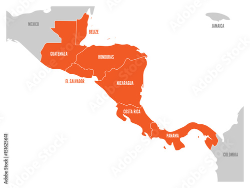 Fotografie, Obraz  Map of Central America region with red highlighted central american states