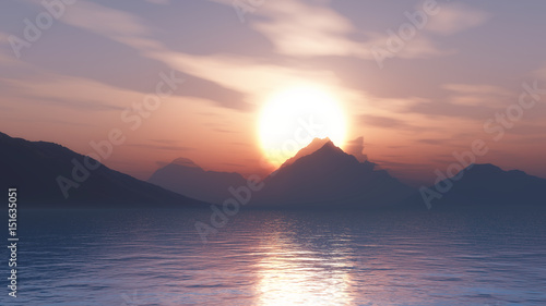 Spoed Foto op Canvas Lavendel 3D mountains against a sunset sky