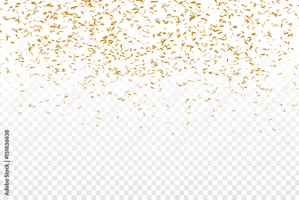 Fototapeta Vector realistic golden confetti on the transparent background. Concept of happy birthday, party and holidays. - obraz na płótnie
