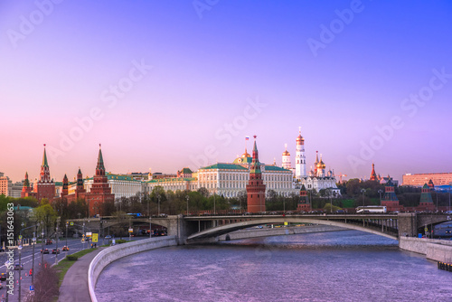 Canvas Print Evening mood Moscow, view of the Moscow Kremlin, Russia