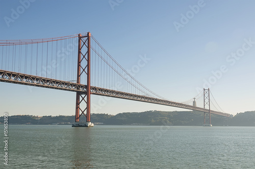Canvas Print Big red metal bridge in Lisabon