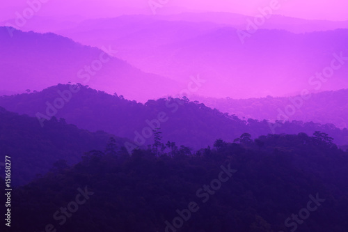Spoed Foto op Canvas Violet Layered mountain covered with fog in cool winter.
