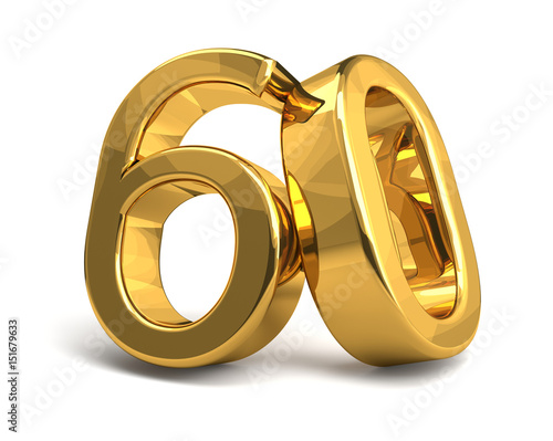 Fotografia  60 golden isolated 3d rendering