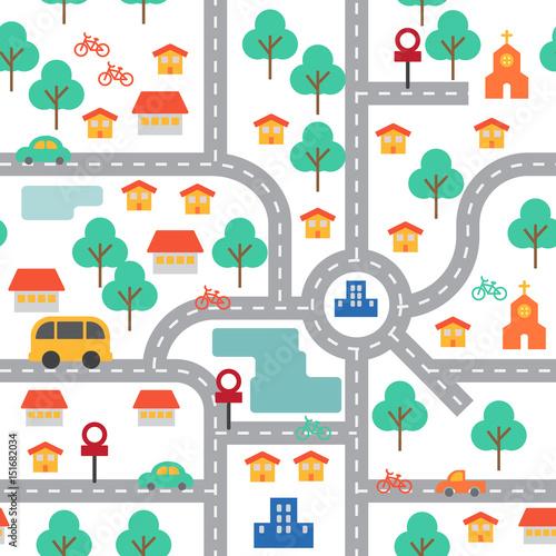 Plakat Kolorowe miasto płaski wzór