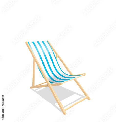 Wooden Beach Chaise Longue Isolated on White Background Poster Mural XXL
