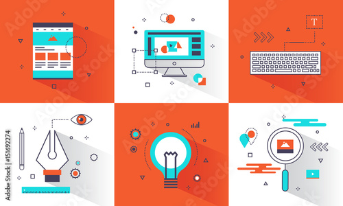 flat design banner graphic design concept abstract element and thin line icons style for website