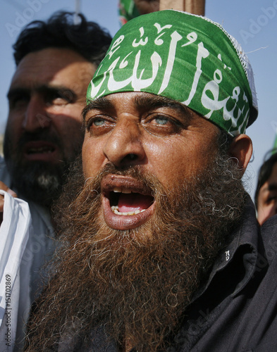 A Man Sporting A Henna Dyed Beard Shouts Slogans During An Anti U S