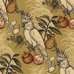 FototapetaSeamless pattern with exotic fruit and cockatoo.