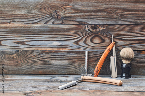 Fotografie, Obraz  Vintage barber shop tools on wooden background
