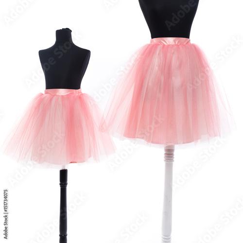 Obraz na plátně tutu skirts pink mother daughetr set on black manequins