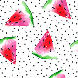 Watercolor seamless pattern with watermelon. Vector illustration - 151738014