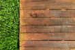 canvas print picture - Wooden board on green grass, picnic related design template