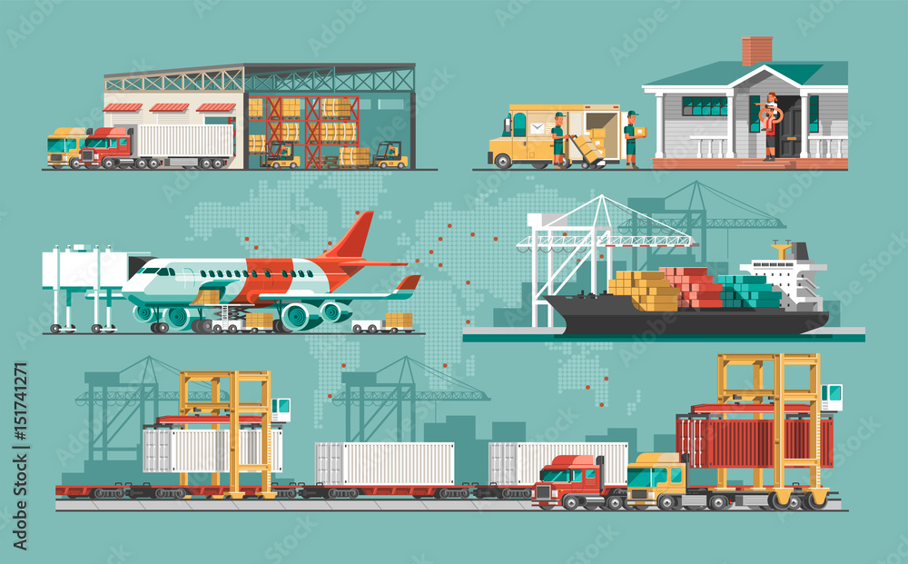 Fototapety, obrazy: Delivery service concept. Container cargo ship loading, truck loader, warehouse, plane, train. Flat style vector illustration.