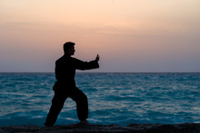 Man Performs Tai Chi Moves Silhouetted
