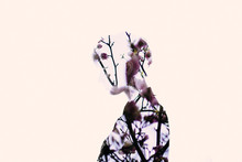 Double Exposure Of Woman And Flowers