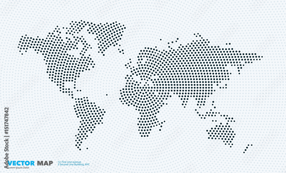 Fototapety, obrazy: Vector world map with rounds, spots, dots for business templates